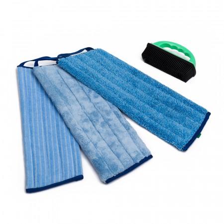 Greenwalk® Trīs mopu komplekts + Gumijas birste