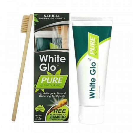 White Glo Pure baltinoša zobu pasta + bambusa zobu birste